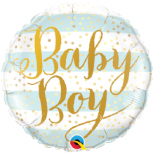 "Baby Boy Stripes Foil Balloon (9"" Air-Fill) 1pc"